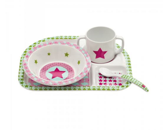 Melamine Starlight Magenta Dish Set - Le Bébé Chic Boutique