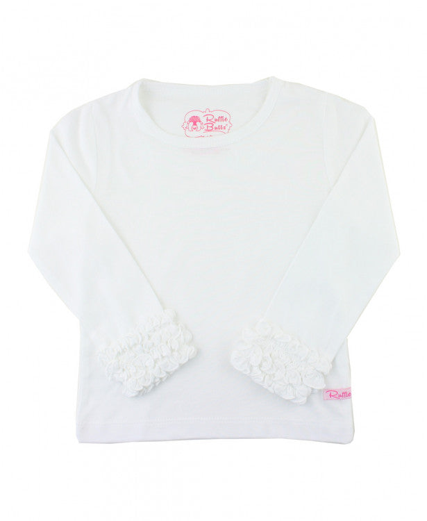 White Ruffle Long Sleeve Layering Tee - Le Bébé Chic Boutique