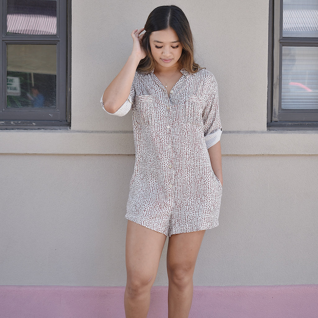 Women's clothing boutique - Honolulu Hawaii - Oahu - Comfortable romper -Loose fit romper- Shirt romper - comfortable casual clothing - Handmade clothing brand