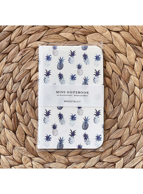 Bradley & Lily Gift Blue Pineapple Mini Notebook Valia Honolulu