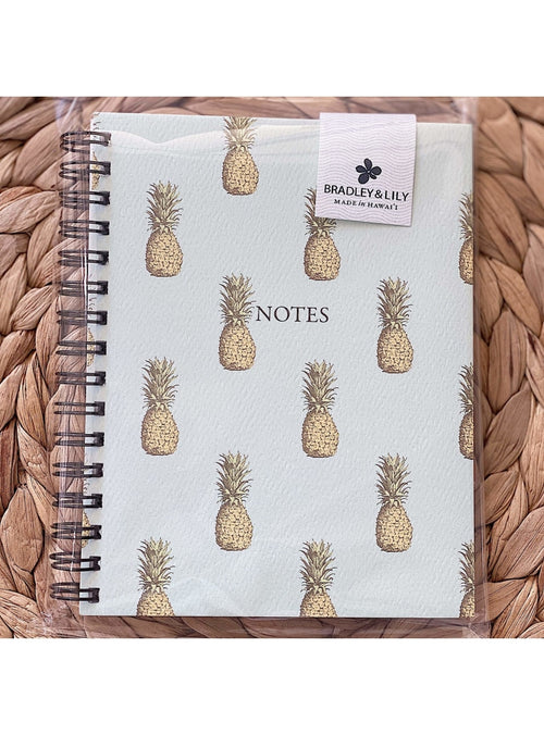 Bradley & Lily Gift Vintage Pineapple Spiral Notebook Cute Mini Notebook | Aloha Maps Mini Notebook Valia Honolulu