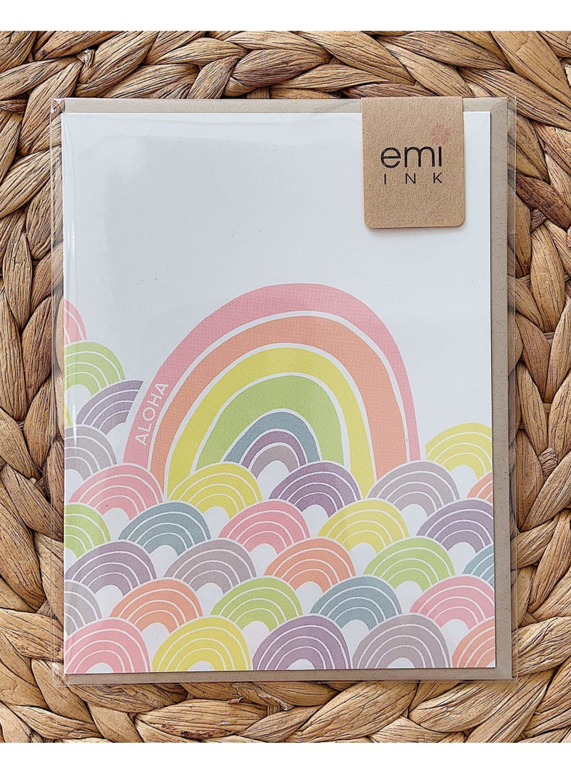 Emi Ink Stationary Sansei Rainbow Greeting Card Valia Honolulu