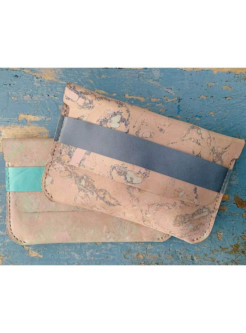 Blue Marbled Leather Clutch