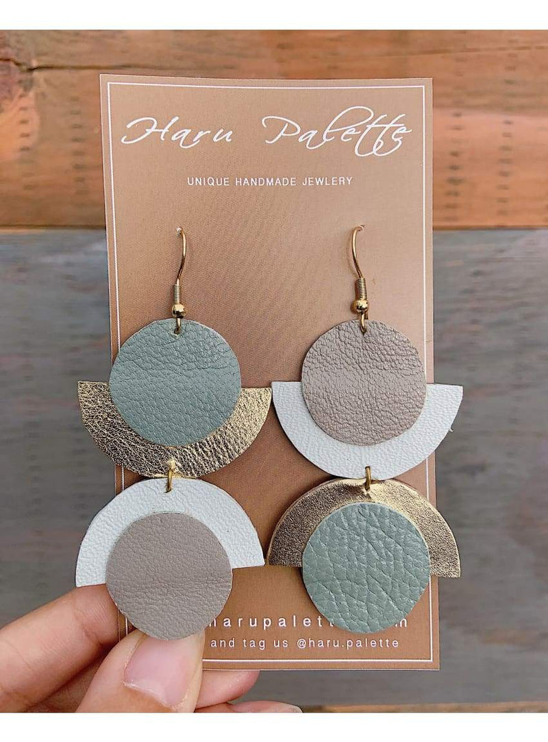 Blue/Grey Mismatched Moon Earrings