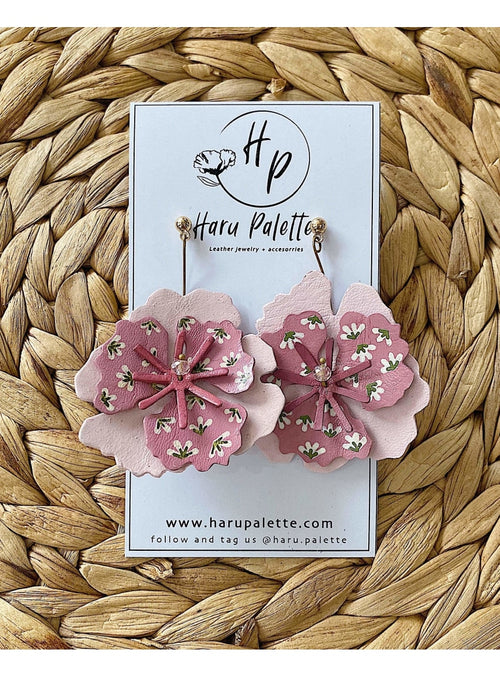 Haru Palette Jewelry Blush Flower on Flower Earrings Leather Earrings | Marbled Dangle Earrings | Haru Palette Valia Honolulu