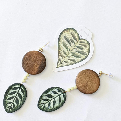 Haru Palette Jewelry Calathea Earring + Sticker Set Leather Earrings | Grey Marbled Monstera Earrings | Haru Palette Valia Honolulu