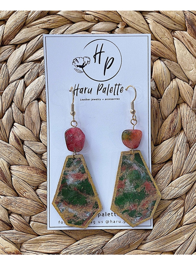 Haru Palette Jewelry Dark Pink Marbled Leather w/Quartz Earrings Leather Earrings | Marbled Dangle Earrings | Haru Palette Valia Honolulu