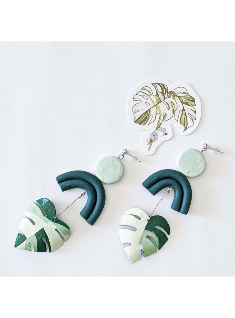 Haru Palette Jewelry Monstera Variegata Earring + Sticker Set Leather Earrings | Grey Marbled Monstera Earrings | Haru Palette Valia Honolulu
