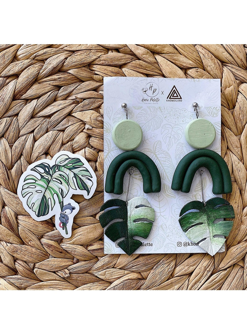 Haru Palette Jewelry Monstera Variegata Earring + Sticker Set Leather Earrings | Monstera Variegata | Haru Palette Valia Honolulu