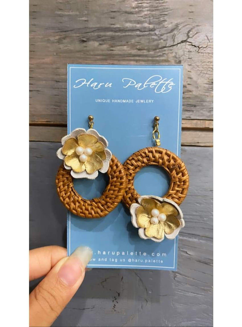Rattan and Leather Circle Earrings