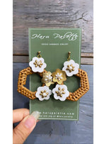 Rattan and Leather Hexagon Earrings