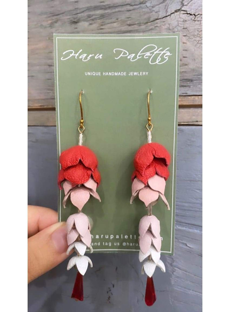 Red Wisteria Earrings