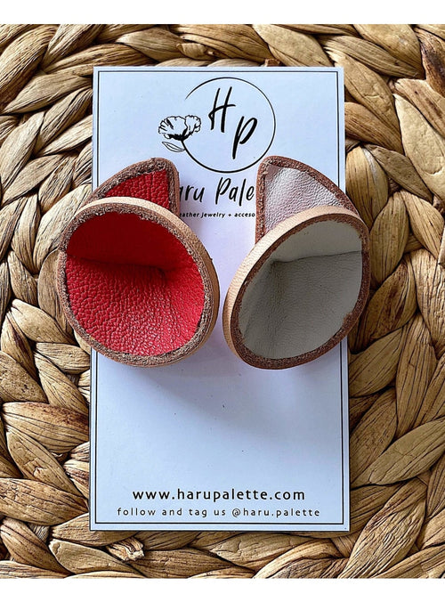 Haru Palette Jewelry Round Leather Earrings in Cream/Red Leather Earrings | Unique Round Design | Haru Palette at Valia Honolulu Valia Honolulu