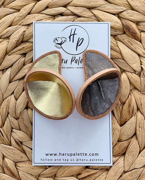 Haru Palette Jewelry Round Leather Earrings in Gold/Silver Leather Earrings | Unique Round Design | Haru Palette at Valia Honolulu Valia Honolulu