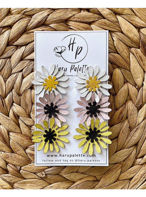 Haru Palette Jewelry Trio Daisy Stud Earrings Leather Earrings | Daisy Trio | Haru Palette at Valia Honolulu Valia Honolulu