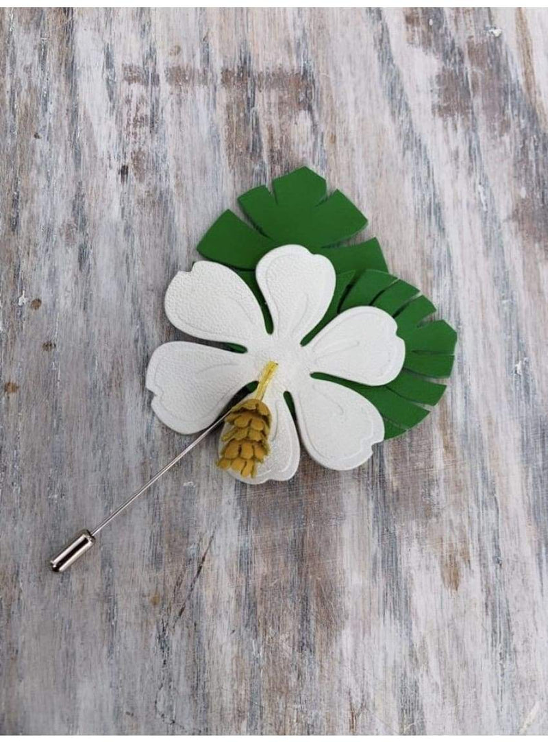 White Hibiscus Brooch