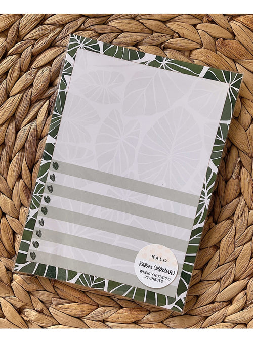 Kakou Collective Stationary Kalo Vertical Weekly Notepad Valia Honolulu