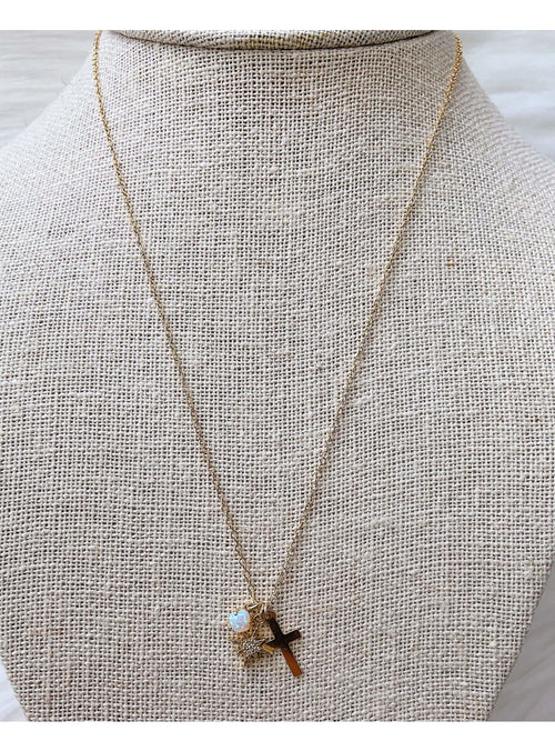 Komakai Jewelry Jewelry Cross Charm Necklace Beaded Gold Layering Necklace | Dainty Gemstone Jewelry | Valia Honolulu Valia Honolulu
