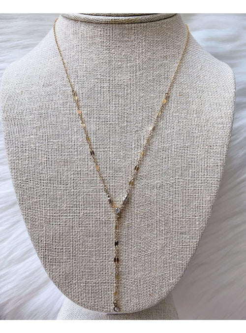 Komakai Jewelry Jewelry CZ Lariat Necklace Beaded Gold Layering Necklace | Dainty Gemstone Jewelry | Valia Honolulu Valia Honolulu