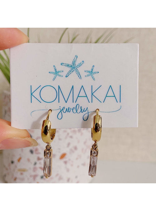 Komakai Jewelry Jewelry Hoop with CZ Dangle Earrings Milky Aquamarine Marquise Earrings | Dainty Gemstone Jewelry | Valia H Valia Honolulu