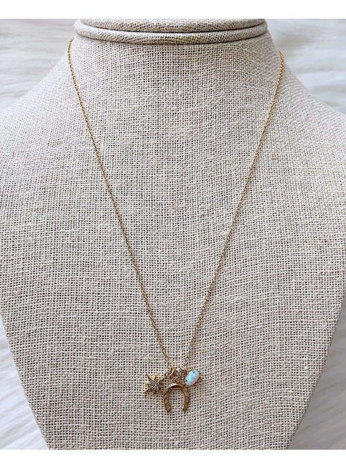 Komakai Jewelry Jewelry Horse Shoe Charm Necklace Beaded Gold Layering Necklace | Dainty Gemstone Jewelry | Valia Honolulu Valia Honolulu