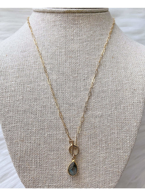 Komakai Jewelry Jewelry Labradorite Toggle Necklace Beaded Gold Layering Necklace | Dainty Gemstone Jewelry | Valia Honolulu Valia Honolulu