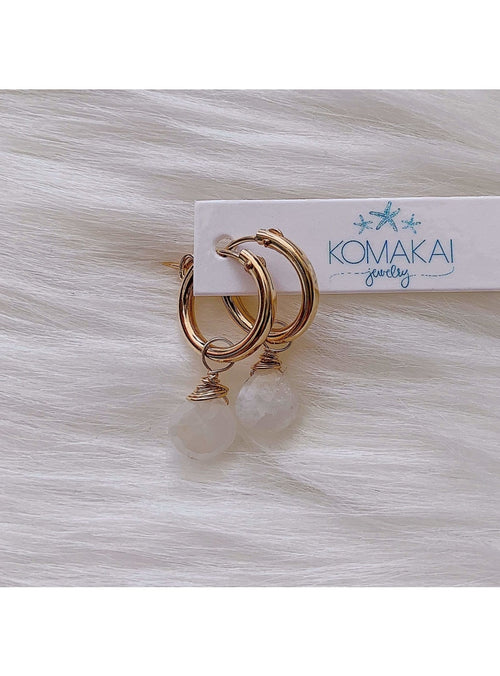 Komakai Jewelry Jewelry Moonstone Huggie Earrings North Star Huggie Earrings | Dainty Gemstone Jewelry | Valia H Valia Honolulu