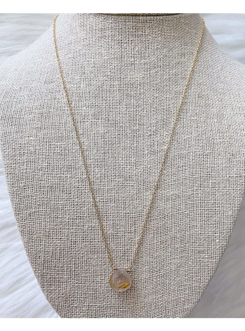 Komakai Jewelry Jewelry Rutile Quartz Necklace Beaded Gold Layering Necklace | Dainty Gemstone Jewelry | Valia Honolulu Valia Honolulu