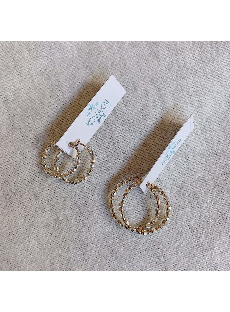 Two Tone Beaded Hoop Earrings