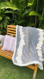 Laha'ole Home Pīkake Lei Blanket in Grey Valia Honolulu