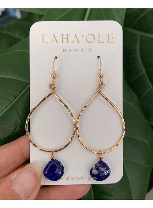 Laha'ole Jewelry 14k GF Large Lapis Hoops Peach Pearl Hoop Earrings | Handmade Hawaiian Jewelry | Valia Honolulu Valia Honolulu