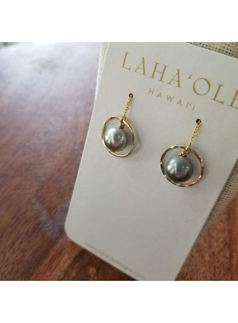 14k Tahitian Pearl Threader Earrings