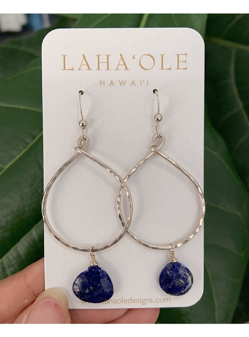 Laha'ole Jewelry SS Large Lapis Hoops Peach Pearl Hoop Earrings | Handmade Hawaiian Jewelry | Valia Honolulu Valia Honolulu