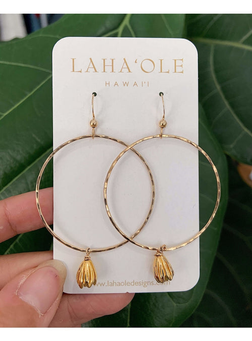 Laha'ole Jewelry Vermeil Large Pikake Hoops - 2020 Collection Pikake Hoop Earrings | Handmade Hawaiian Jewelry | Valia Honolulu Valia Honolulu