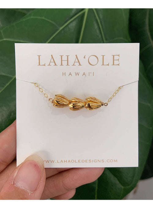 Laha'ole Jewelry Vermeil Pīkake Bar Necklace Pikake Bar Necklace | Handmade Hawaiian Jewelry | Valia Honolulu Valia Honolulu
