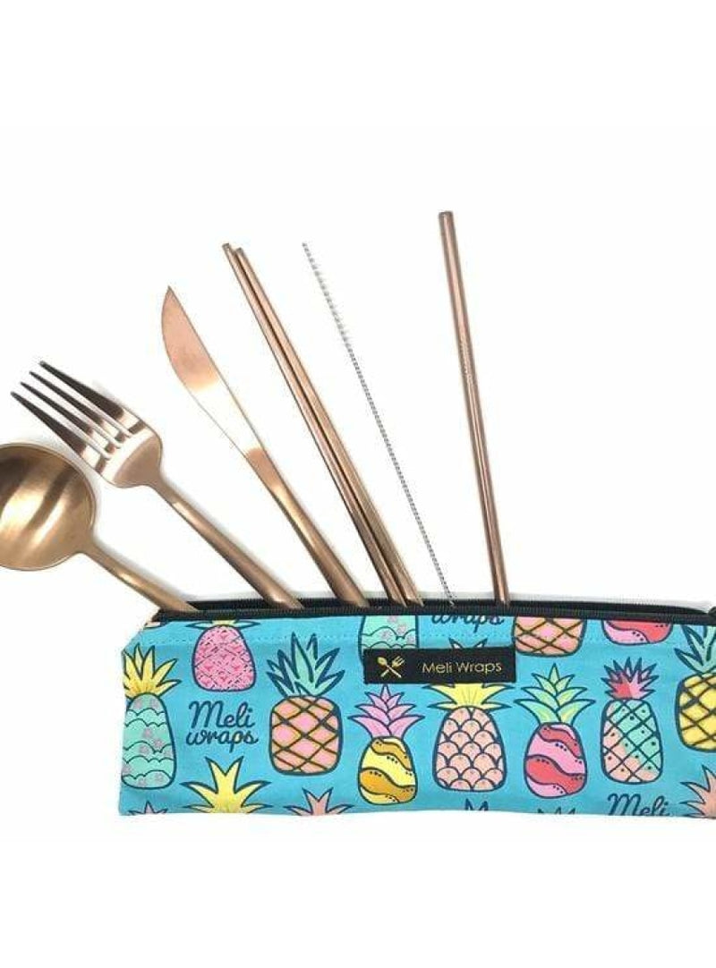 Meli Wraps Home Meli Wraps Reusable Travel Cutlery - Pineapple Valia Honolulu