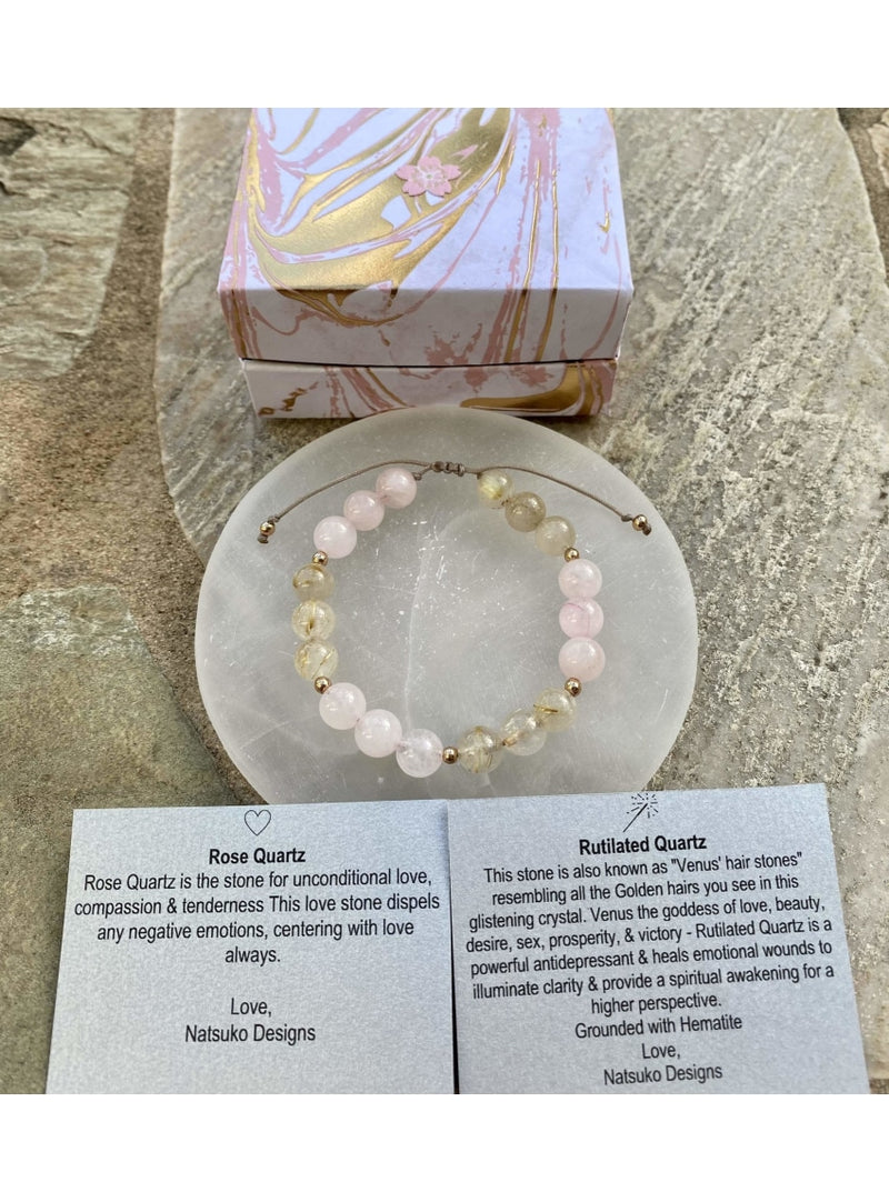 Natsuko Designs Jewelry Rose Quartz and Rutilated Quartz Bracelet Valia Honolulu