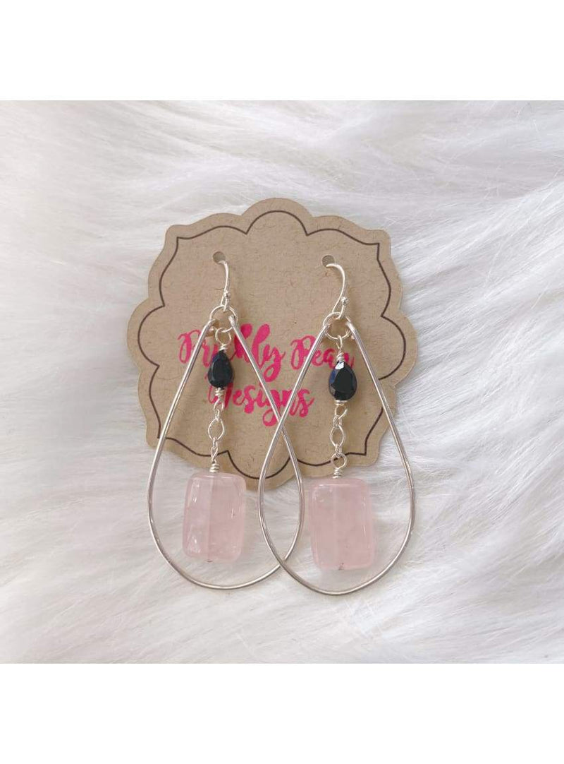 SS Rose Quartz + Black Spinel Earrings