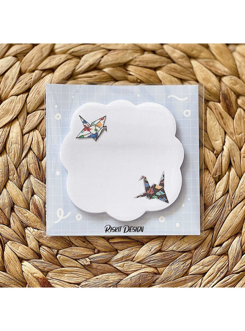 Riskit Designs Gift Cranes + Clouds Sticky Notepad Coffee Lover Washi Tape | Riskit Design at Valia Honolulu Valia Honolulu