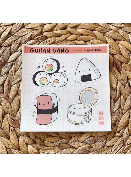 Riskit Designs Gift Gohan Gang Sticker Sheet Coffee Lover Sticker Pack | Riskit Design at Valia Honolulu Valia Honolulu