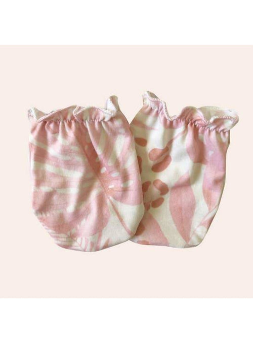 Sweet Sweet Honey Keiki Baby Mittens in Pink Tropical Jungle Valia Honolulu