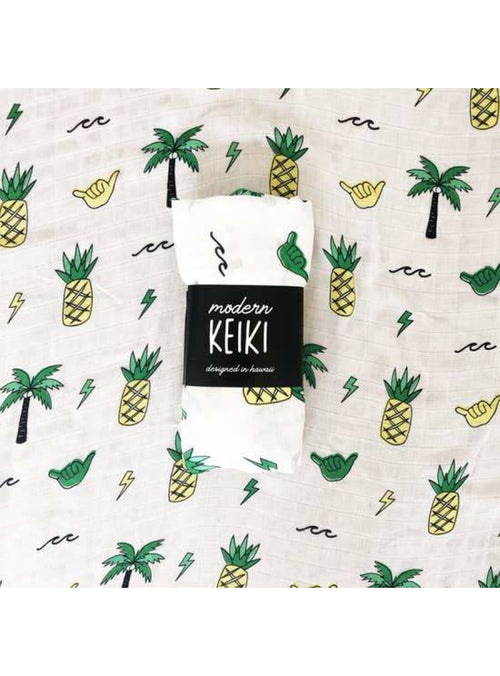 Sweet Sweet Honey Keiki Swaddle Blanket in Westside White Valia Honolulu