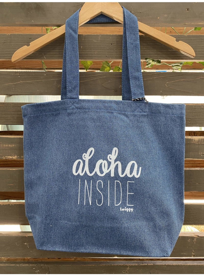 Twiggy Hawaii Handbag Aloha Inside Denim Tote Rainbow Denim Tote Bag | Twiggy Hawaii at Valia Honolulu Valia Honolulu