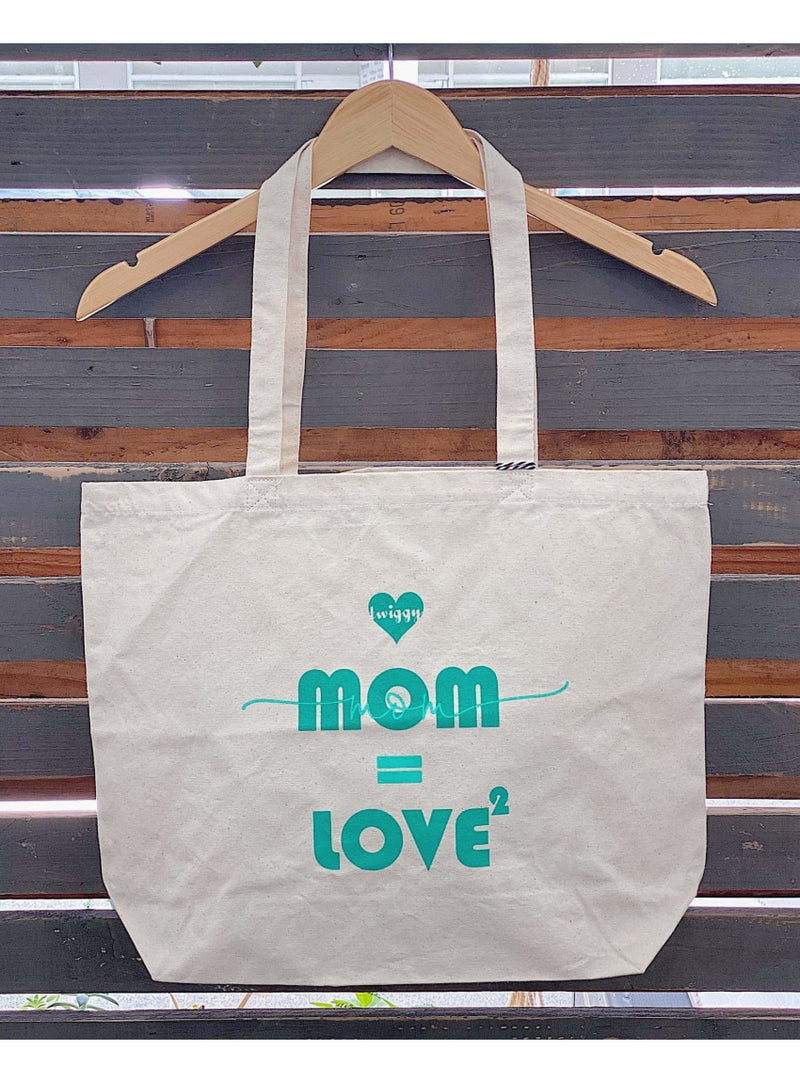 Twiggy Hawaii Handbag Mom=Love2 Canvas Tote in Jade Fearless Female Canvas Tote | Twiggy Hawaii at Valia Honolulu Valia Honolulu