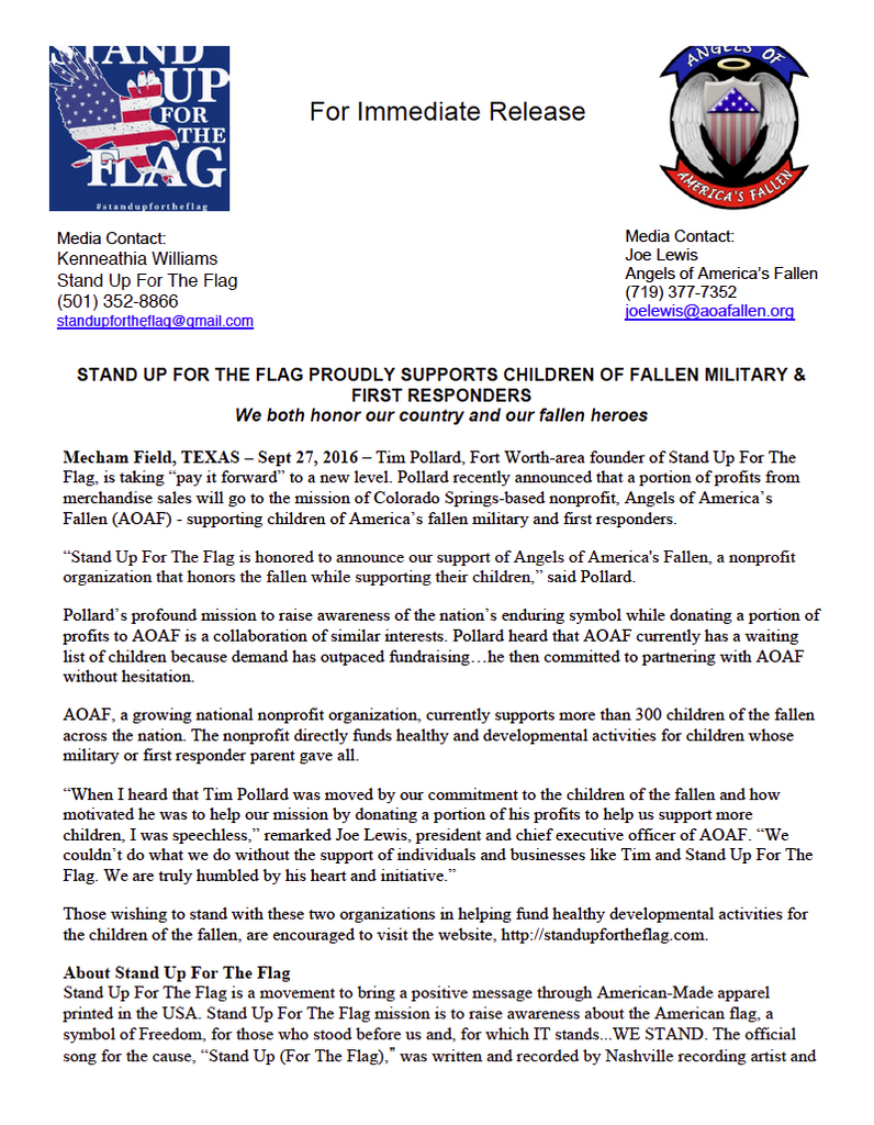 Press Release Stand Up For The Flag Proudly Supports Children of Fallen Military and First Responders AOAFallen