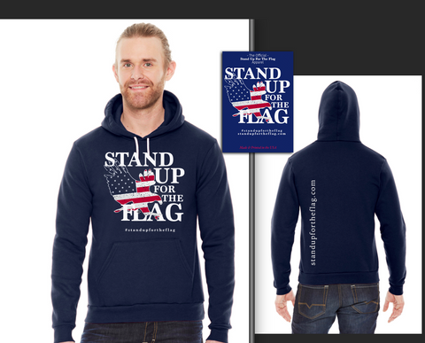 Official Stand Up For The Flag Hoodie Hooded Sweatshirt - Unisex XS - 2XL Navy Blue