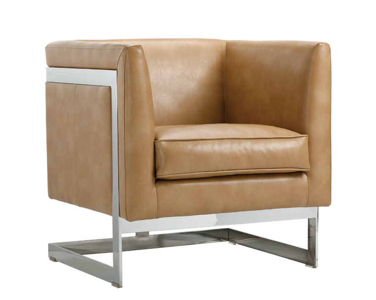 AIKEN ARMCHAIR PEANUT LEATHER STAINLESS