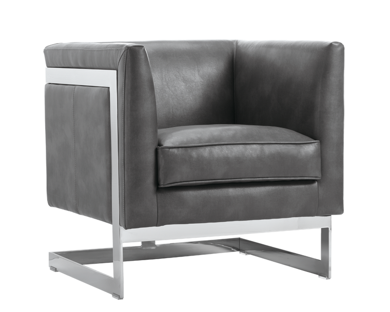 AIKEN ARMCHAIR GREY LEATHER STAINLESS
