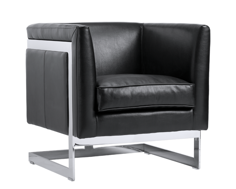 AIKEN ARMCHAIR BLACK LEATHER STAINLESS