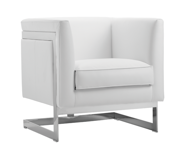AIKEN ARMCHAIR WHITE LEATHER STAINLESS